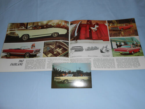 1967 FORD FAIRLANE 500XL ORIG. POSTCARD + 16 p. FULL-LINE 67 BROCHURE / CATALOG