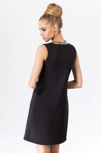 Ladies Classic Shift Dress V Neck Sleeveless Cocktail Tunic Sizes 8-14 FA379