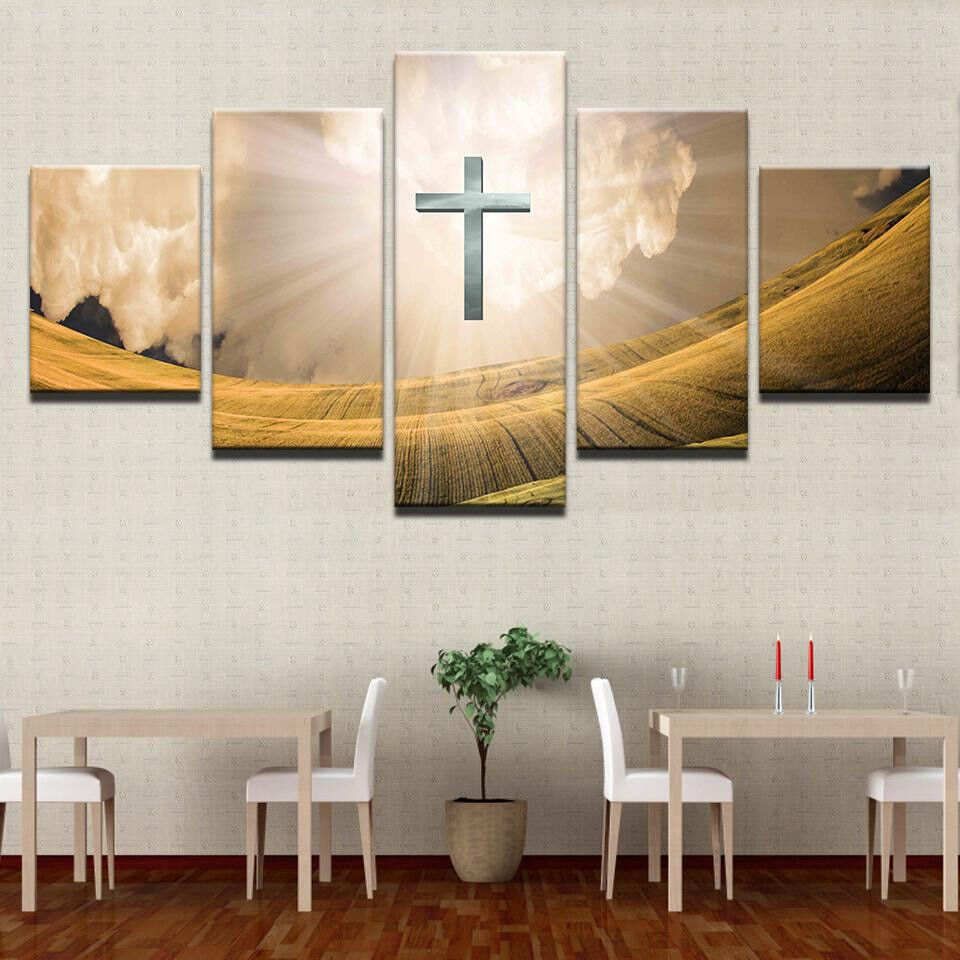 Cross Shining Light Clouds Meadow 5 Panel Canvas Print Wall Art