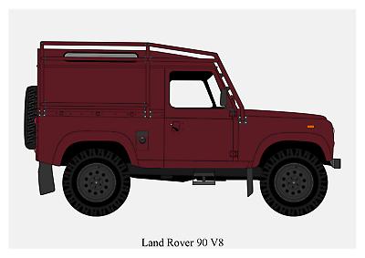 Art Print Car RENDER A4 A3 A2 sizes POSTER LAND ROVER DEFENDER 90 #1 -