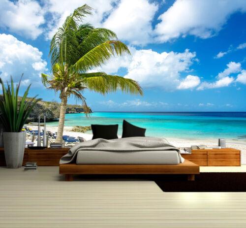 Prepasted Mural Wallpaper Wallcovering Seaside Beach Tree Scenic Home Decor 1290