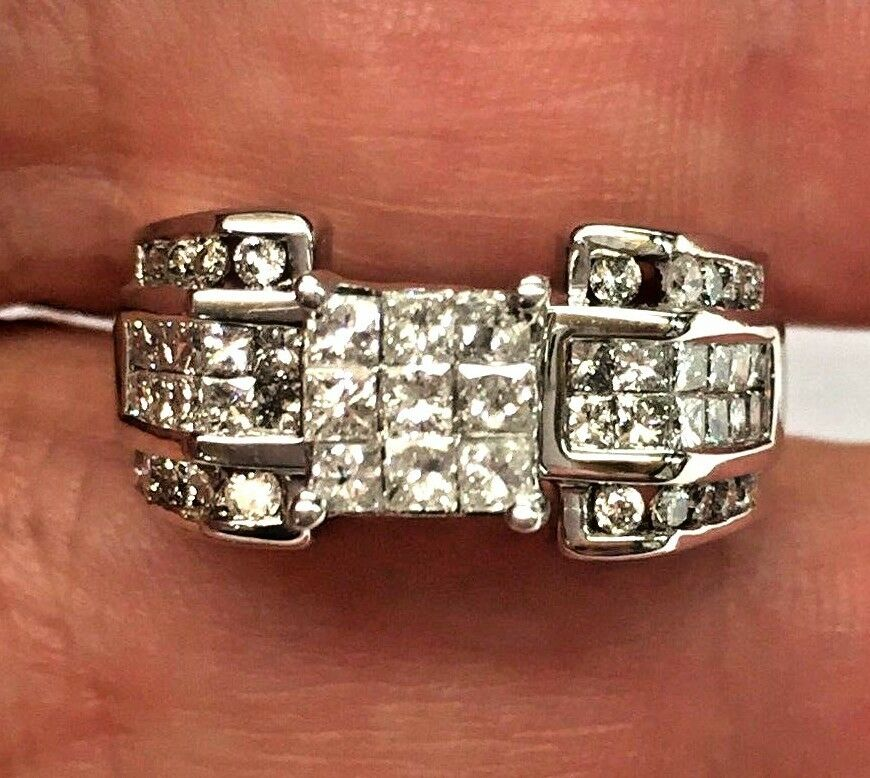 14K Solid White gold 1.50 CT Princess-Cut & Round Multi-Diamond Engagement Ring