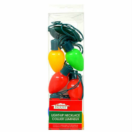1 Christmas LED Light Bulb Necklace Ball w//Batteries Party Gift Xmas Party Favor
