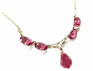 Vintage-Gold-amp-PINK-RUBY-Faceted-Glass-Bead-Lavaliere-Style-15-Chain-Necklace