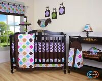 Baby Girl Brown Pink Diamond Shape 13PCS Nursery Baby CRIB BEDDING SET Special