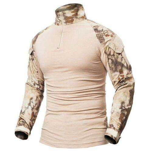 Men/'s Camouflage Army T-shirt Soldiers Military Clothing Long Sleeve Green Black