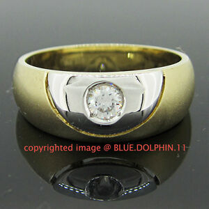 Real-Genuine-Solid-9k-Yellow-White-Gold-Engagement-Wedding-Dress-Mens-Ring-Band