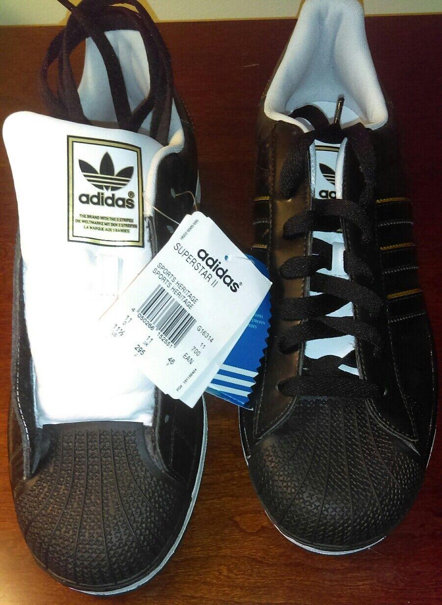 Men's Adidas Superstar II Black/White/Metallic Gold Size 11.5