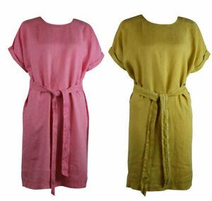 Womens-Linen-Blend-Mustard-Pale-Yellow-Fondant-Pink-Tie-Front-Shift-Tunic-Dress