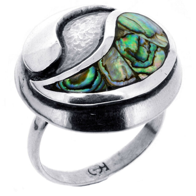 7.2 g STAMPED Solid 925 Sterling Silver Mother-of-Pearl Ring 7.5 US BELDIAMO