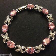 "GB Pink oval sapphires 7.25"" bracelet 18k WHITE GOLD filled, Plum UK BOXED"