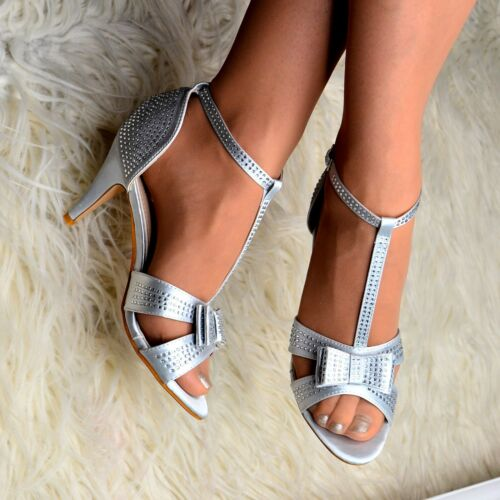 Womens Satin Dress Sandals Bow T-bar Diamante Shoes Strappy Heels Open Wedding