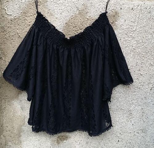 Top mit Spitze schwarz XS-M-XL Shirt mit toller Spitzenoptik Betty Top 32