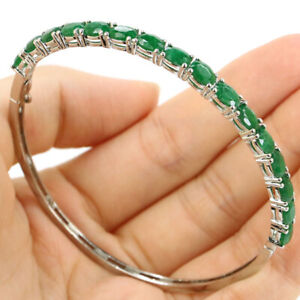 "6x4mm Elegant Real Green Emerald Girls Birthday Gift Silver Bangle Bracelet 8.5"""