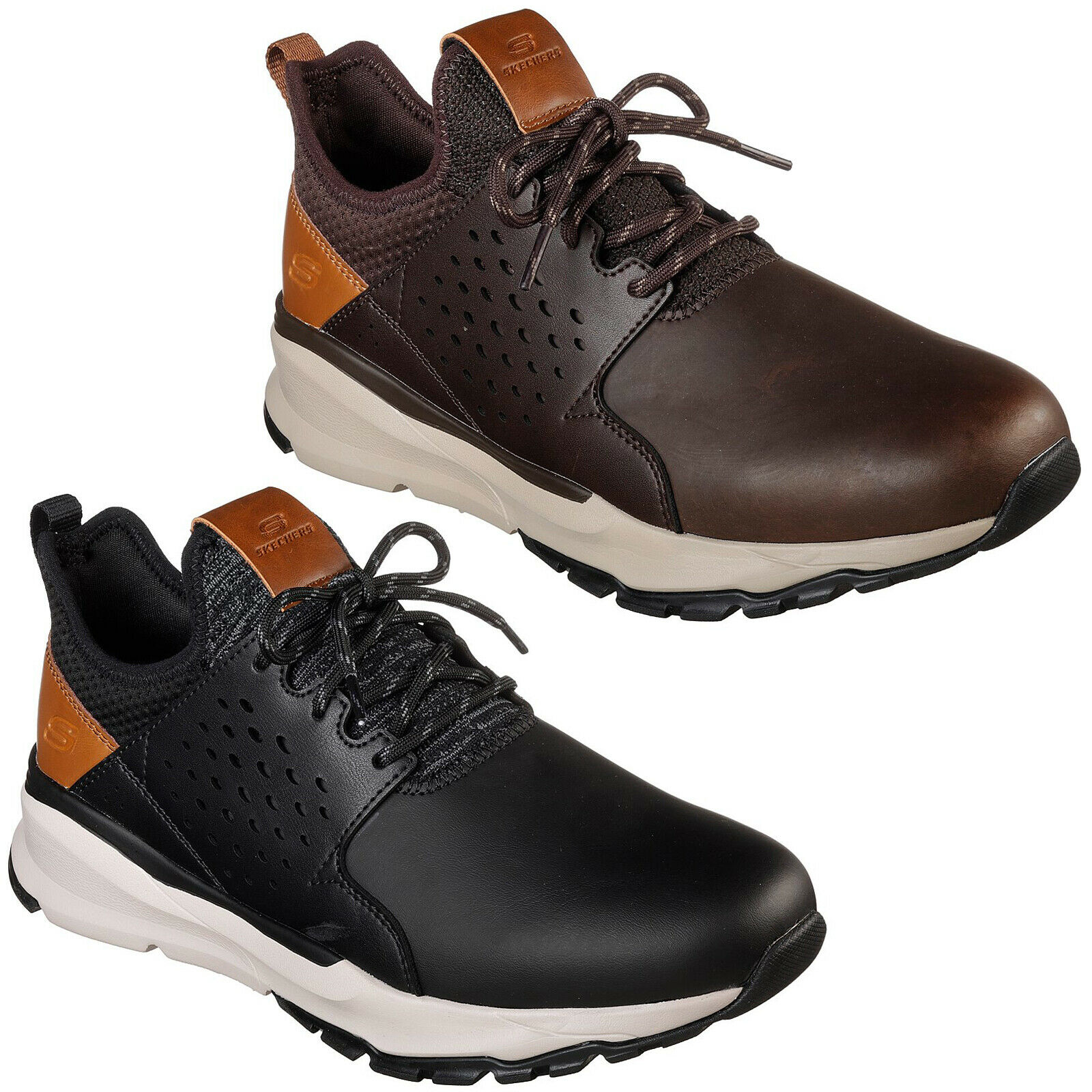 Skechers Relven - Hemson Trainers 65732 Mens Leather Lace Up Sporty Casual schuhe
