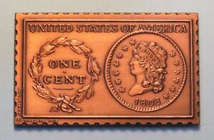 1808 U.S. Classic Head Large Cent Numistamp Medal Coin Mort Reed Limited 1978