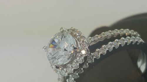 1.25 Ct 14K White Gold Cathedral Round Engagement Wedding Propose Promise Ring