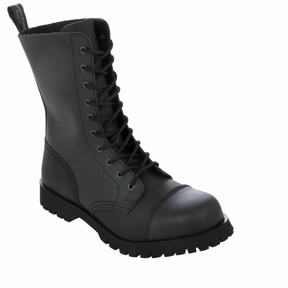 Boots & Braces 10-Loch Stiefel Basic-Matt-Stahlkappe-unisex-Biker
