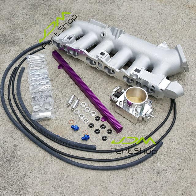 For Nissan R32 R33 R34 RB25 Intake Manifold Plenum+Fuel Rail+80mmThrottle  Body