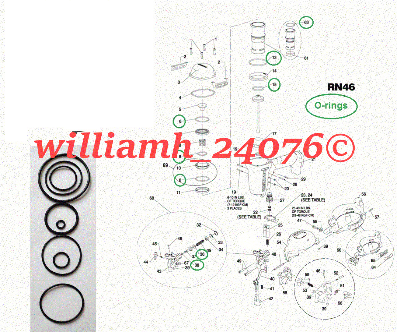 williamh_24076 O-ring Kit  For Bostitch Roofing Nailer RN46 RN46-1 Parts Repair