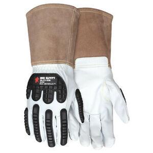 Mcr Safety 48406M Leather Gloves,White,M,Pk12