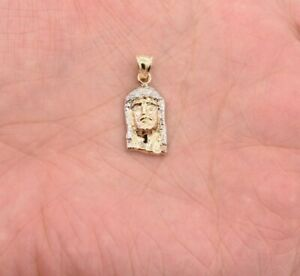 1-034-Jesus-Face-Pendant-Charm-Diamond-Cut-Men-Women-Real-10K-Two-Tone-Yellow-Gold