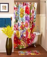 Springtime Floral Jumble Shower Curtain Towels Rug Colorful Blooms Bath Set