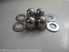 YAMAHA XVS 650 1100 DRAGSTAR  EXHAUST STUD DOME NUTS STAINLESS STEEL UPGRADE