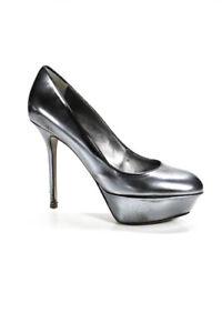 Sergio-Rossi-Womens-Leather-Platform-High-Heel-Pumps-Silver-Black-Size-38-8