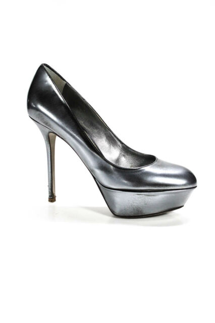 Sergio Rossi Womens Leather Platform High Heel Pumps Silver Black Size 38 8
