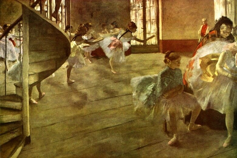 THE REHEARSAL BALLET DANCERS DANCE COSTUMES ADJUSTED 1877 BY EDGAR DEGAS REPRO