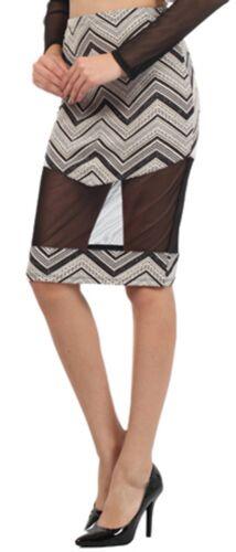Jacquard Mesh Panel Chevron Zigzag Stripe Pattern Fitted Bodycon Pencil Skirt US