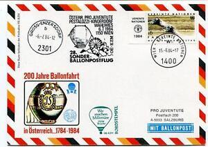 1984 Sonder Ballonpost N. 28 Pro Juventute Aerostato Oe-kzm Pestalozzi Onu Wien
