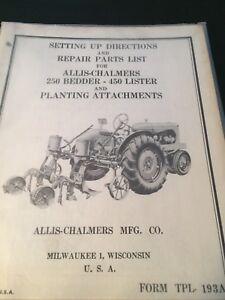 Details about Original ALLIS-CHALMERS 250 Bedder 450 Lister TPL-193A Manual  AC