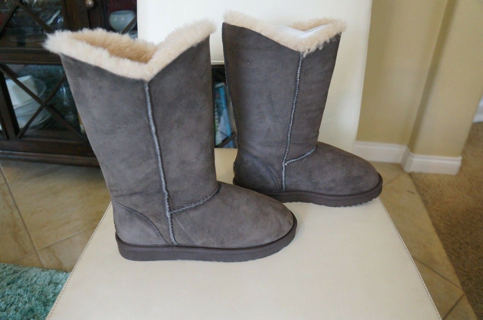 NEW KOOLABURRA Suede Double Halo Shearling Tall Boots in Brown SZ 7