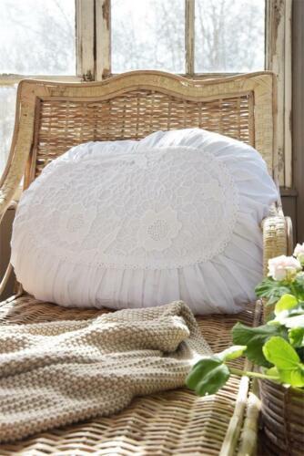 Jeanne d´Arc living Kissenhülle Spitze Weiß Oval Shabby Vintage Brocante Deko