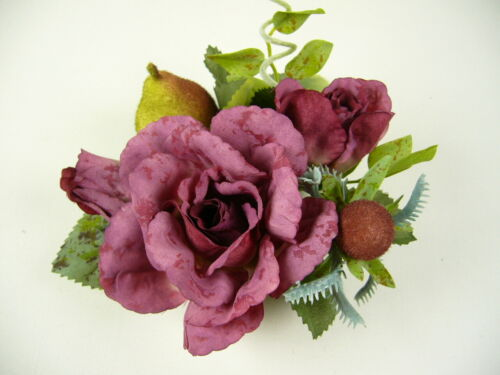4x Artificial Silk Flowers Rose with Bud Pear Candle Rings Cream Burgundy
