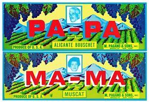 ORIGINAL CRATE LABEL SCALETTA VINTAGE GRAPE LODI 1960S ITALIAN WINE PRESS VINE