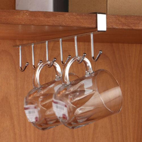 Iron 6 Hook Under Shelf Mug Cup Cupboard Kitchen Organiser Hanging Holder 1 Pcs
