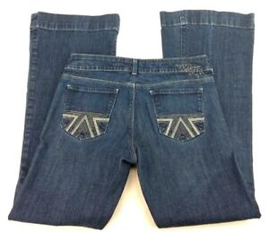 American-Eagle-Womens-10-Regular-Denim-Jeans-Dark-Blue-Mid-Rise-Flare-Stretch-AT
