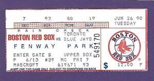 6 26 1990 toronto blue jays boston red sox baseball ticket stub ebay