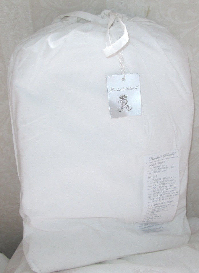 RACHEL ASHWELL COUTURE California King FITTED Sheet SOLID Weiß COTTON