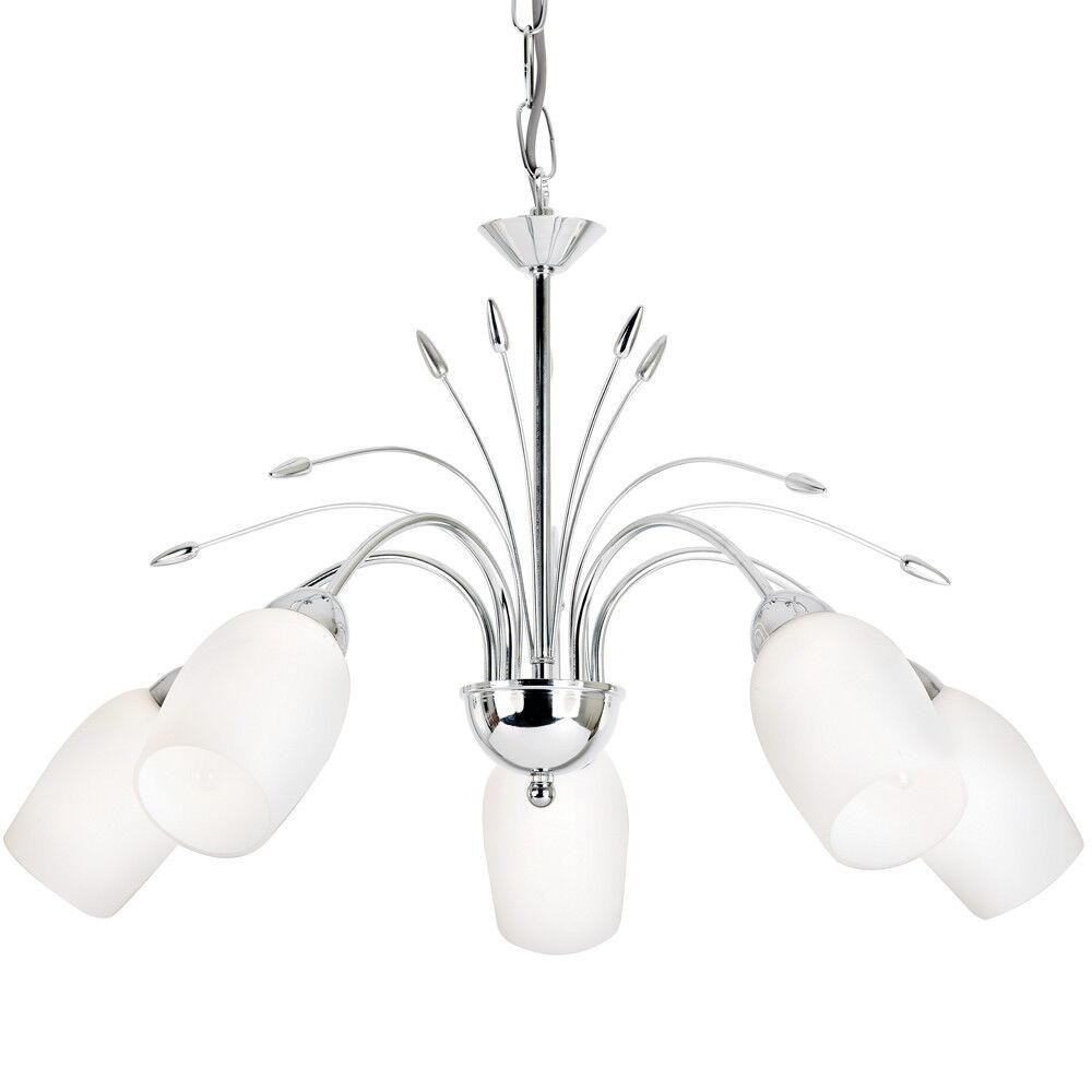 Hanging Flush Ceiling Pendant–5 Light CHROME & GLASS Chandelier–Lamp Bulb Holder