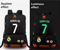 1xronaldo Real Madrid 7 Canvas Bag Casual Luminous Backpack School Bag Xmas Gift