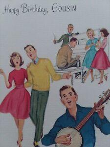 1960s-Vtg-TEENS-Play-Music-DANCE-Norcross-Happy-BIRTHDAY-Cousin-GREETING-CARD