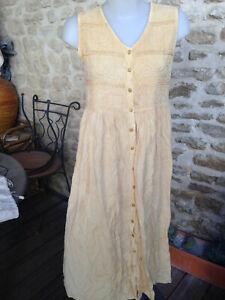 robe femme debardeur longue viscose jaune broderies boutons Taille 40