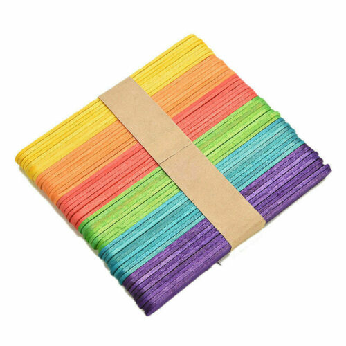 MULITCOLOURED PACK OF 50 WOODEN CRAFT LOLLY STICKS ARTS AND CRAFTS CAKE POPS