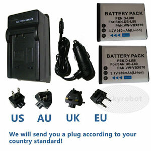 2X-Battery-amp-charger-for-Sanyo-DB-L80-Xacti-VPC-GH1-VPC-GH2-VPC-GH3-VPC-GH1EX