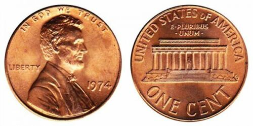 3 COINS 1974 P  D S GEM UNCIRCULATED  LINCOLN CENTS