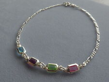 "STERLING SILVER ANKLE BRACELET- 9.75"" -FIGARO+ MULTI COLOR  CRYSTALS- ITALY 925"